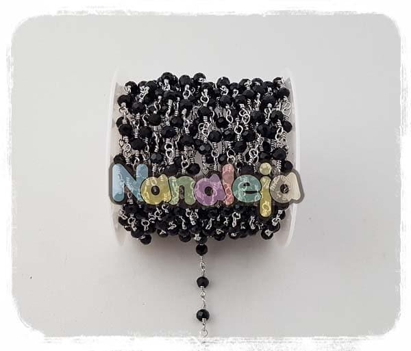 Cadena con cristales negros de acero inoxidable (precio por trozo de 10cm)