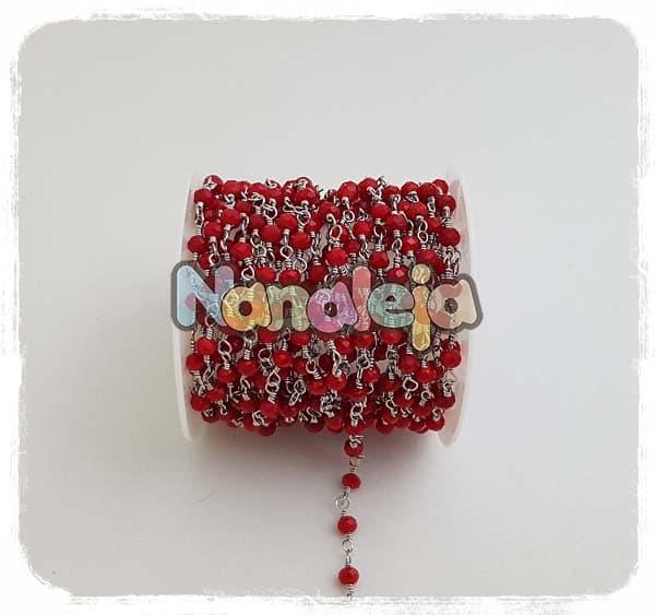 Cadena con cristales rojos de acero inoxidable (precio por trozo de 10cm)
