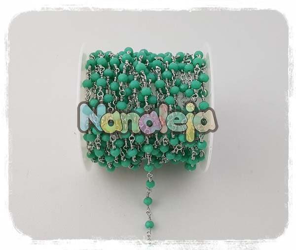 Cadena con cristales turquesas de acero inoxidable (precio por trozo de 10cm)