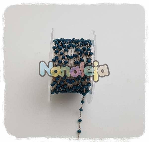 Cadena con piedras azul mar (precio por trozo de 10cm)