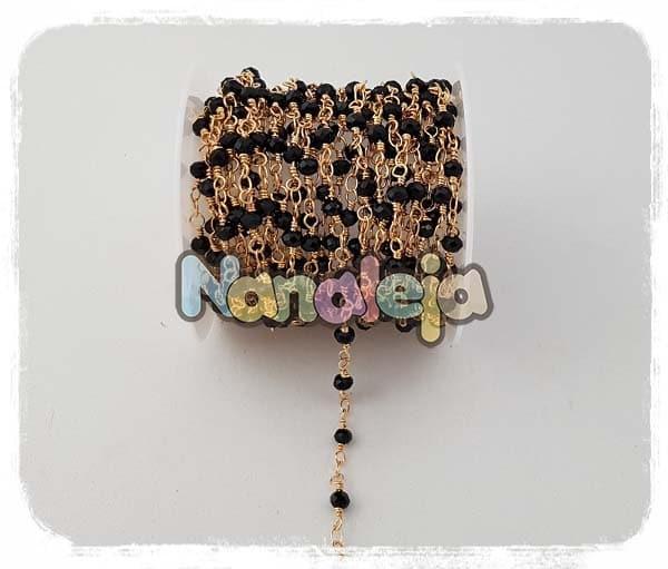 Cadena con cristales negros (precio por trozo de 10cm)