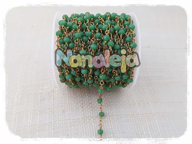Cadena con cristales verdes (precio por trozo de 10cm)