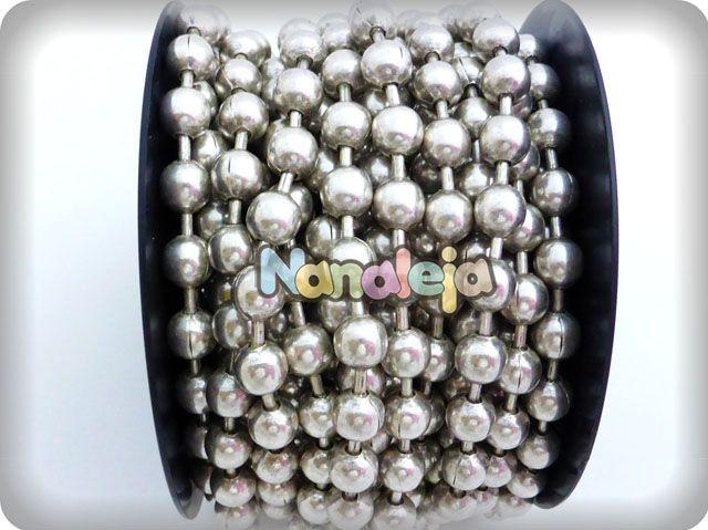 Cadena de bolas 10mm con baño de plata (precio por cm)