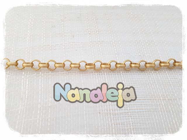 Cadena dorado mate de aluminio eslabón redondo 8mm (precio por trozo 50cm)