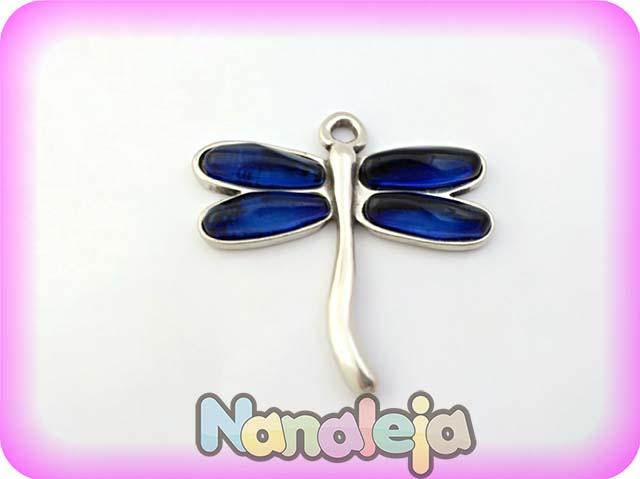 Colgante libélula de zamak con resinas azul 62X63mm