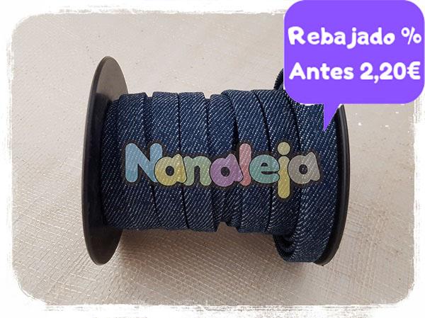 Cordón étnico plano 10mm azul vaquero (precio por metro)