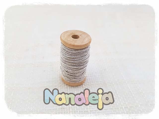 Hilo de seda japonesa plateado 1mm (precio por metro)