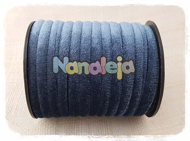 Cordón de terciopelo redondo azul claro (precio por metro)