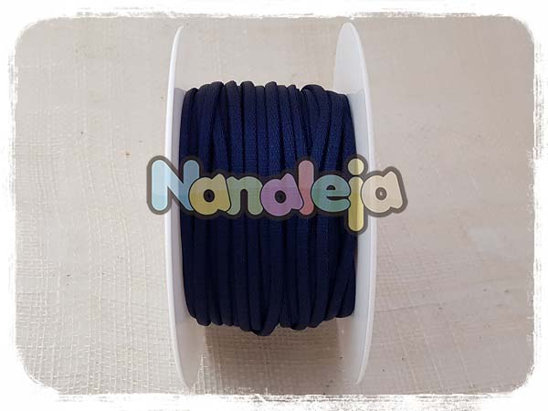 Cordón espaguetti elástico azul marino (precio por metro)
