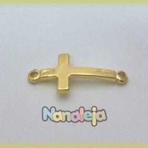 Entrepieza cruz dos conectores zamak oro (20X45mm)