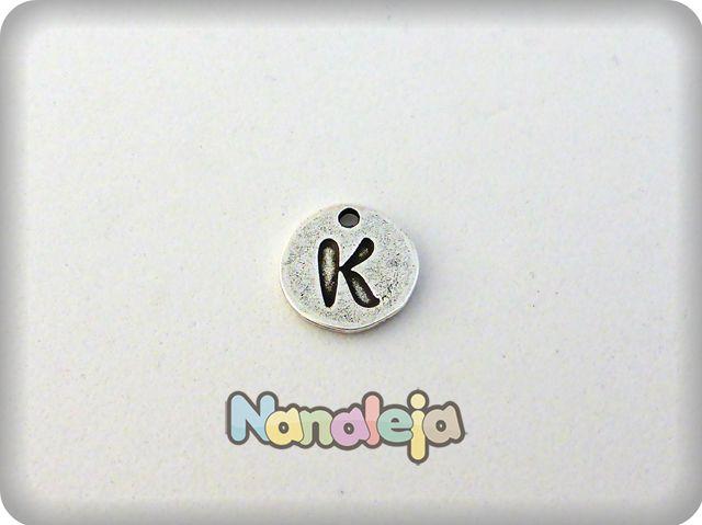 Colgante letra K moneda zamak 14mm