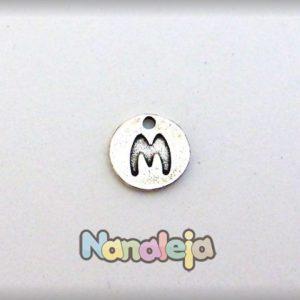 Colgante letra M moneda zamak 14mm
