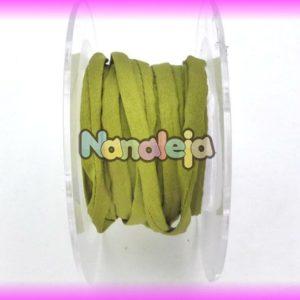 Seda natural cosida para pulseras de 5mm verde oliva (precio por cm)