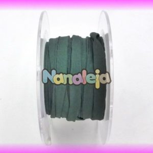 Seda natural cosida para pulseras de 5mm verde oscuro (precio por cm)